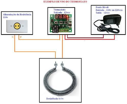 Termostato para Controle de Temperatura W1209