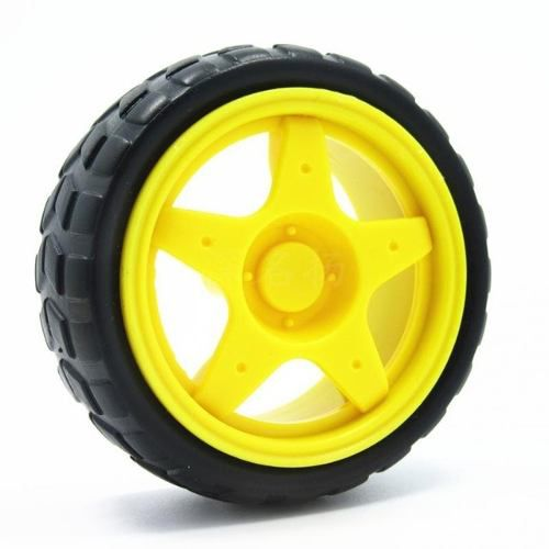 Roda Amarela com Pneu para Chassi