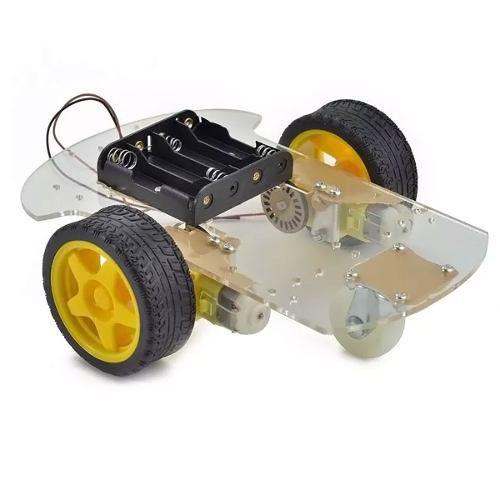 Kit Chassi 2 Rodas Base de Acrílico + Suporte de Pilhas