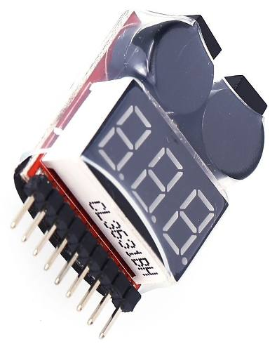 Alarme Buzzer e Indicador de Tensão 1 a 8 Células para baterias de Lipo