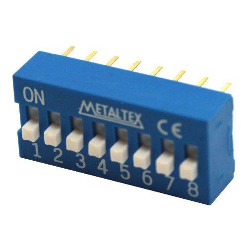 3x Chave Dip Switch 8 Vias 180° Azul