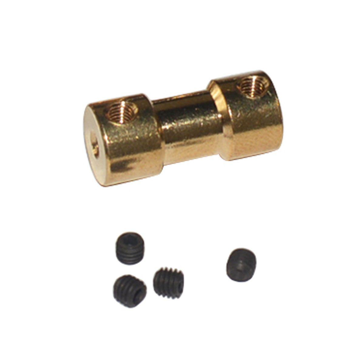 Acoplador de Latão para Motor eixo 3,175mm em ambos os lados