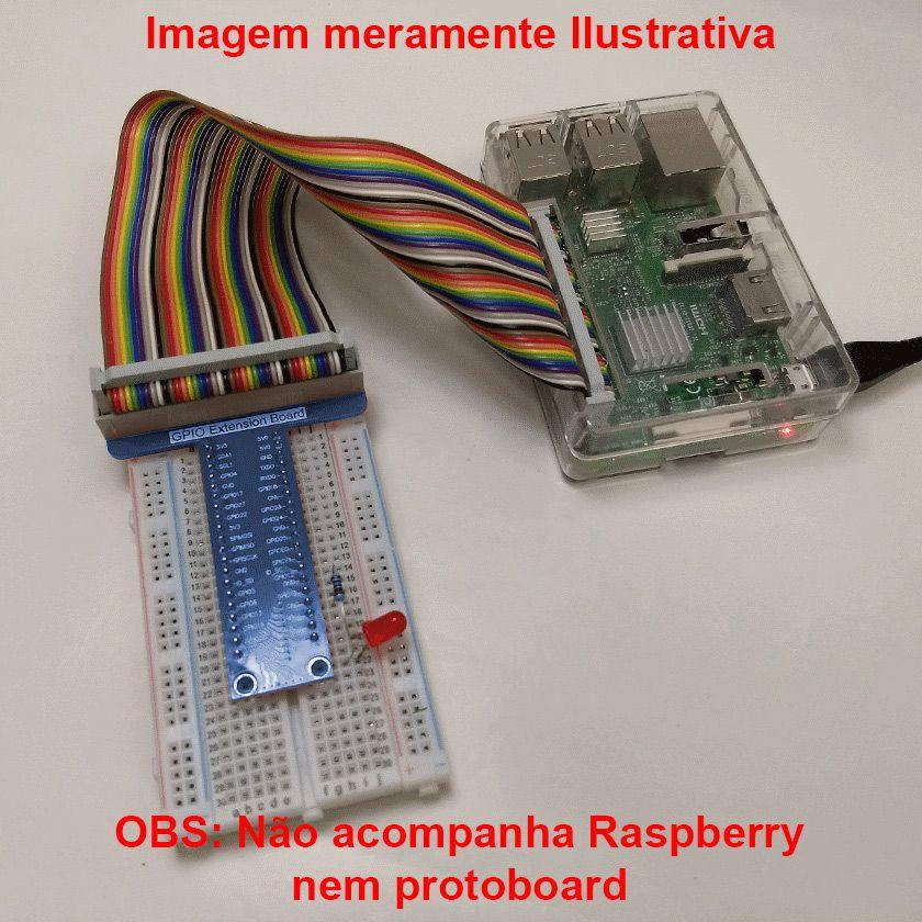 Adaptador / Conector Pinos GPIO Raspberry para Protoboard