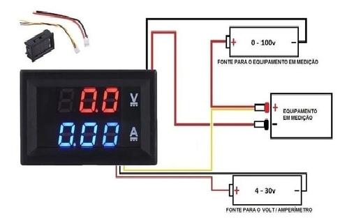 Amperimetro e Voltimetro DC Display Led Vermelho 0v a 100v 10A