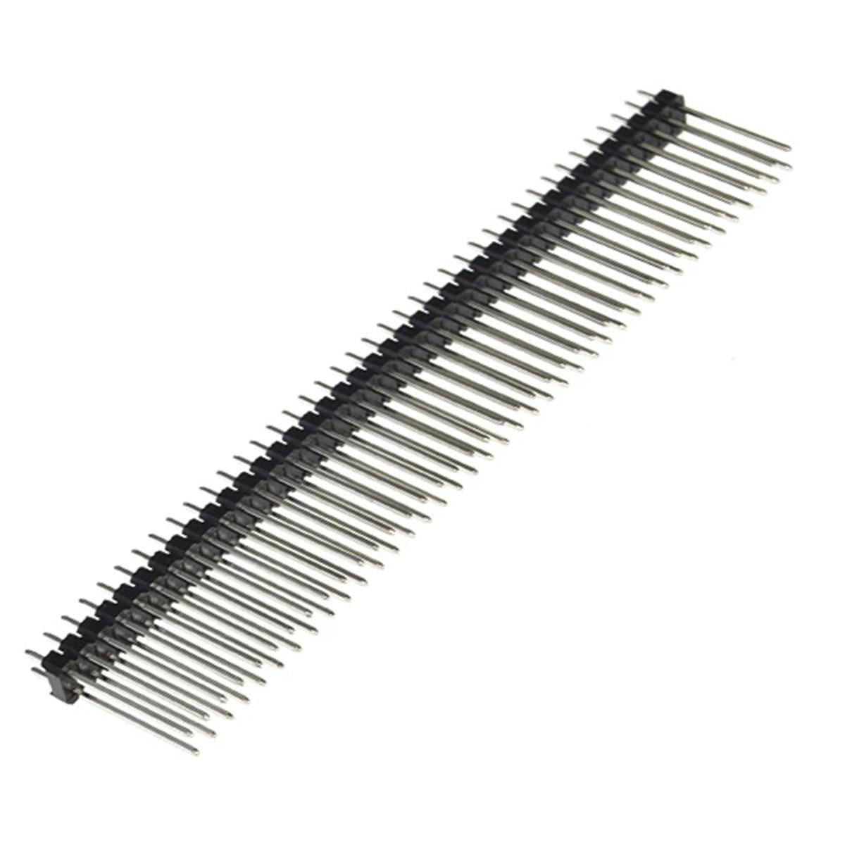Barra de Pinos Macho Pin Header 2x40x20 - Passo 2,54mm 180º