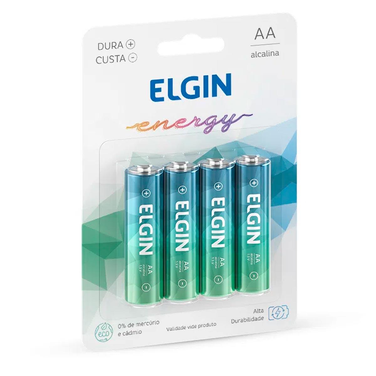 Blister com 4 Pilhas Alcalinas AA LR6 1,5v Elgin