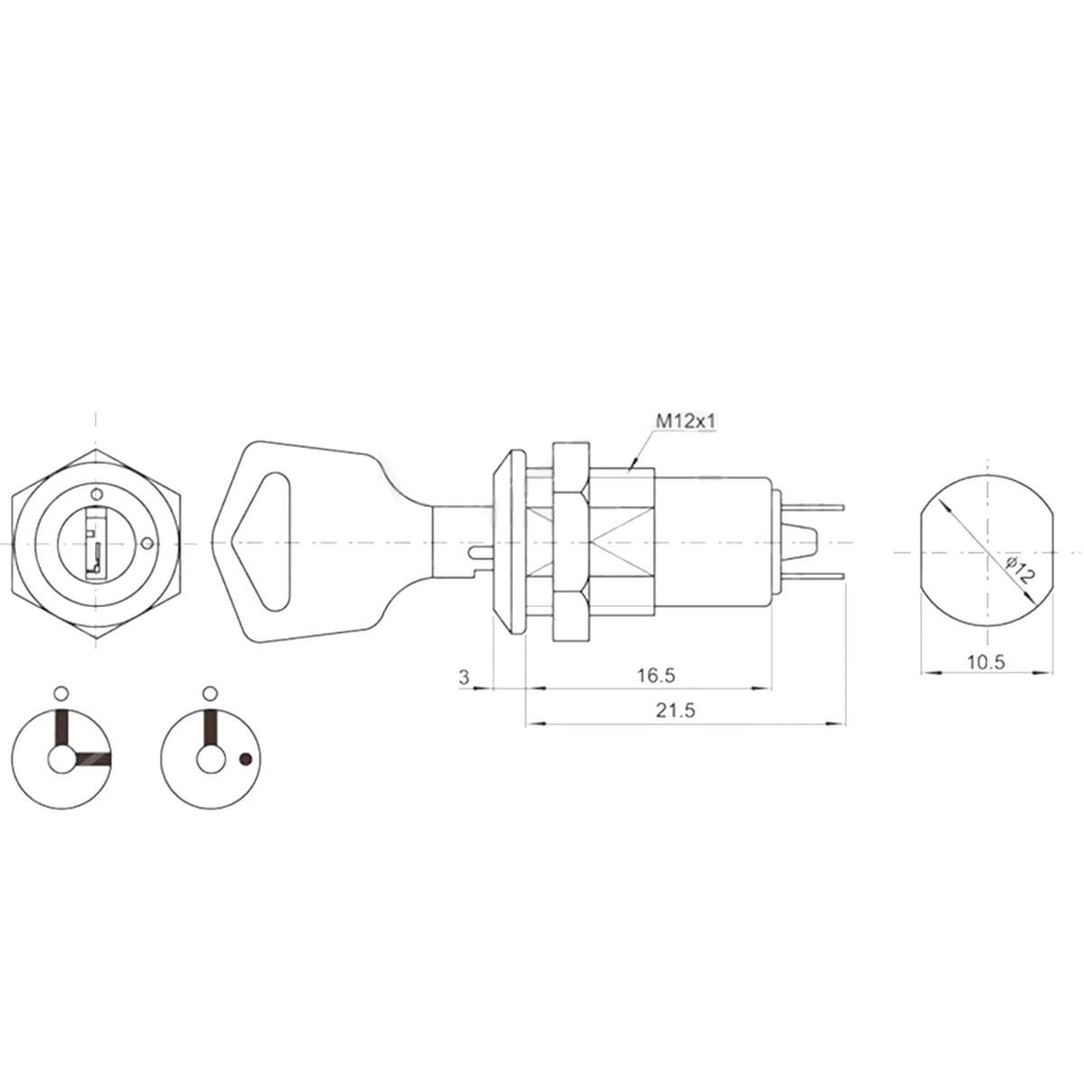 Botão Liga / Desliga com Chave | Botão para Comutação On Off através de Chave
