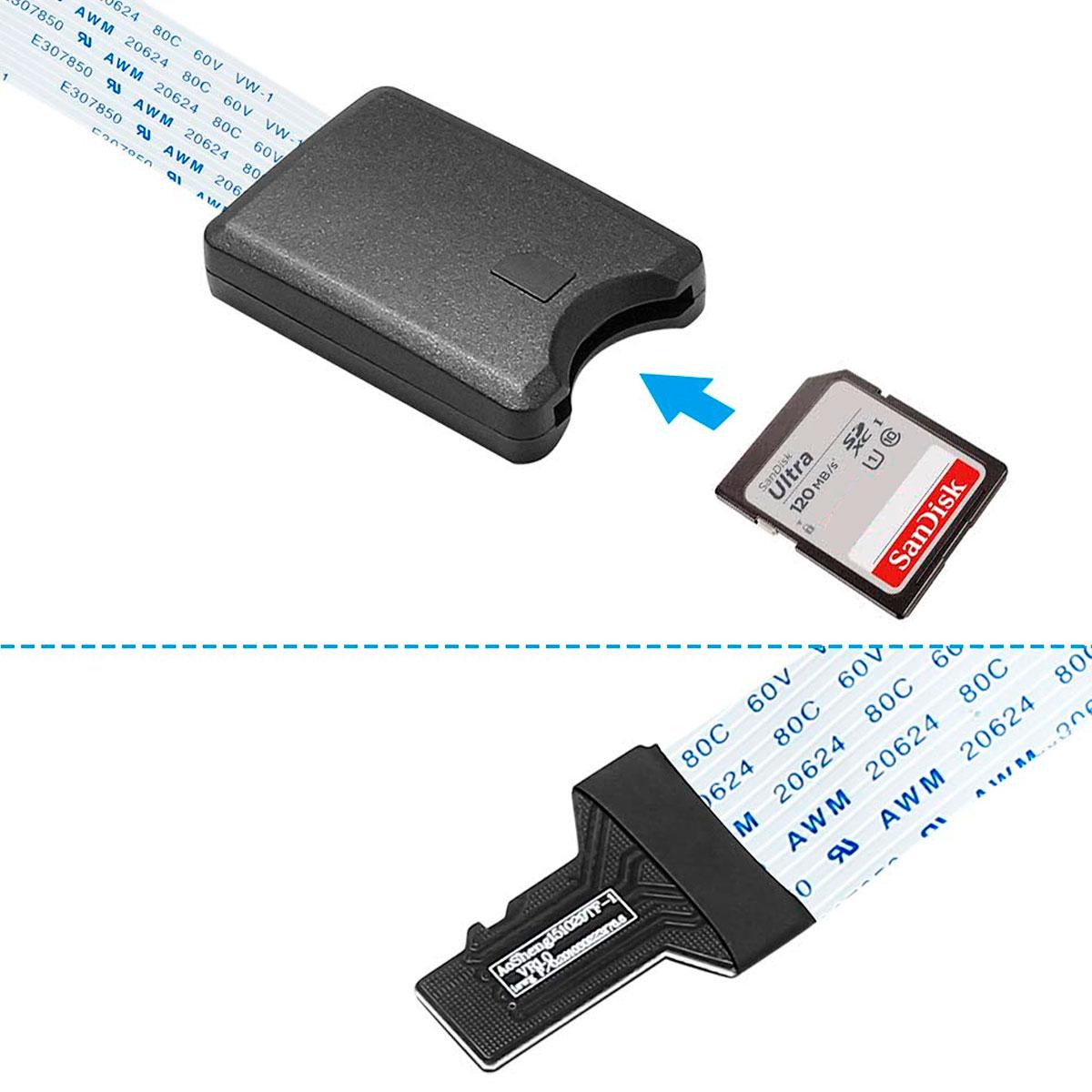 Cabo Extensor de 25 cm para Cartão SD Card Raspberry Pi, Impressoras 3D
