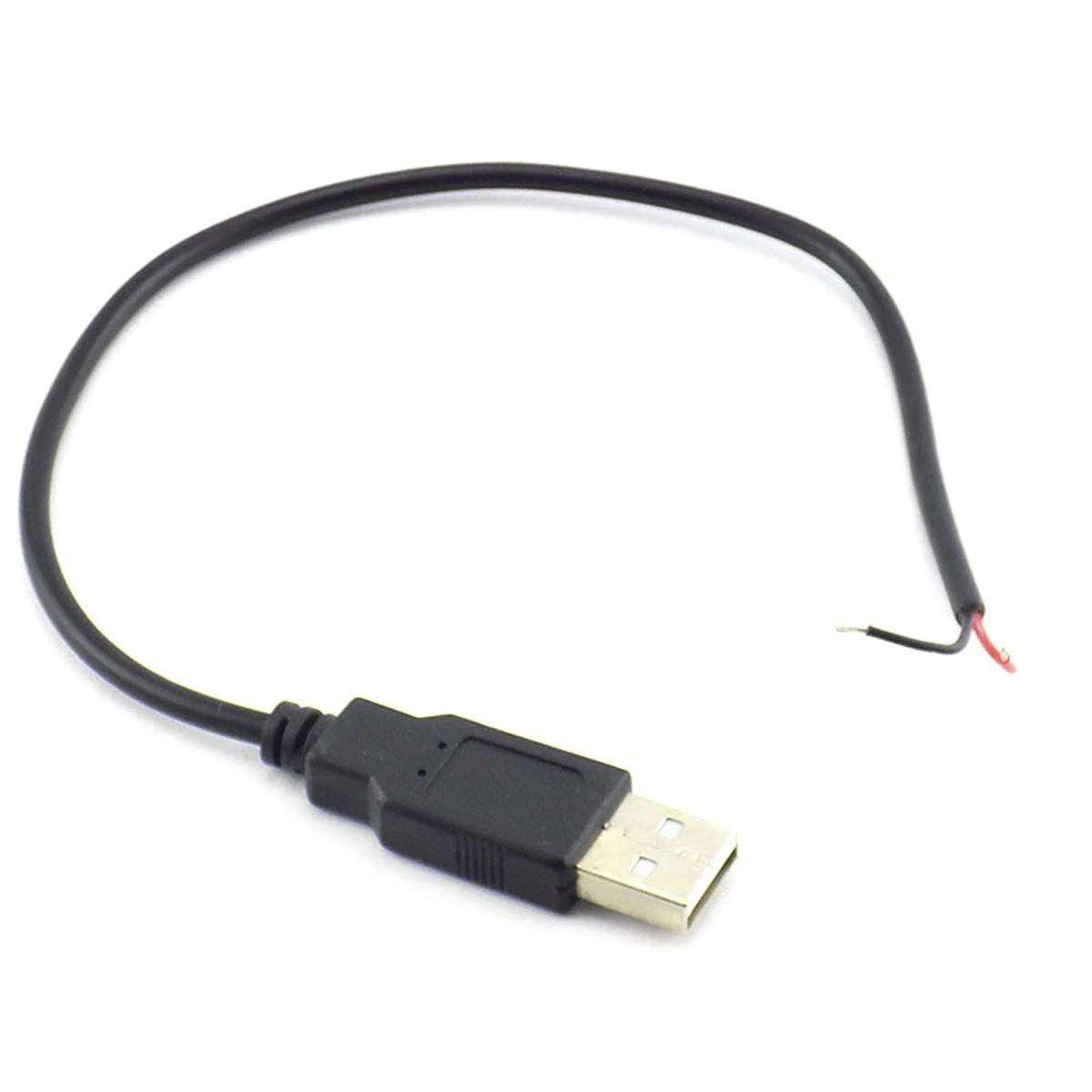 Cabo USB Macho Com 2 Fios para Alimentação DIY