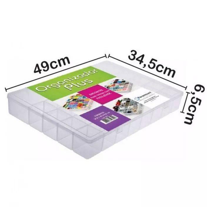 Caixa Organizadora PLUS 49cm x 34,5cm x 6,5cm com 34 Divisórias