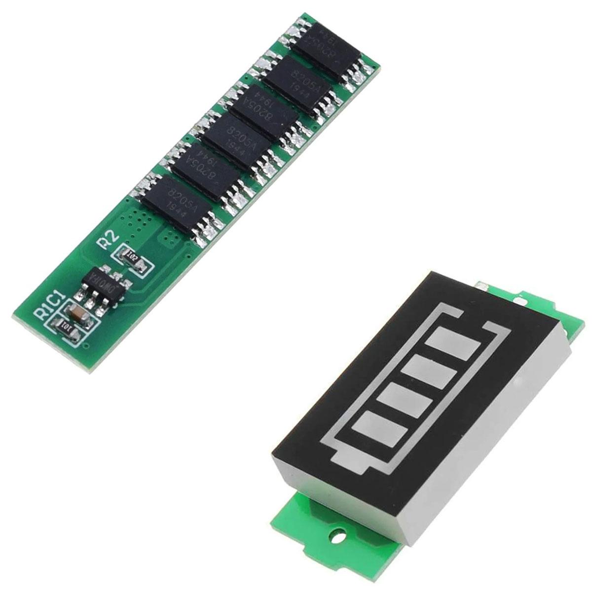 Carregador Bateria 3,7v 4,2v Bms 1S 10A + Voltímetro