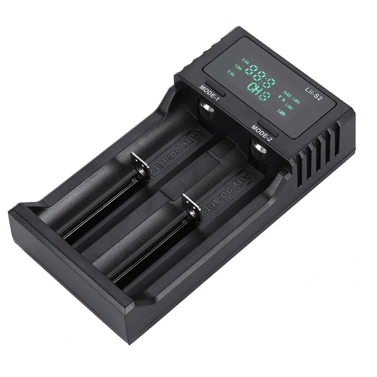 Carregador LiitoKala para 2 Baterias 18650 - LII-S2 Charger com Fonte e Cabo