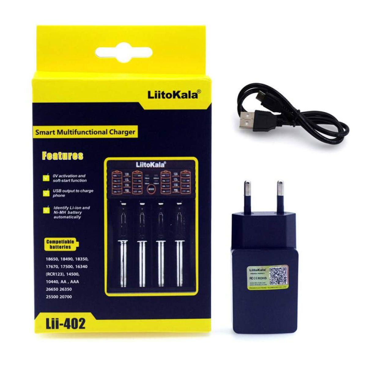 Carregador Litokala para 4 Baterias 18650 + Fonte 5v USB