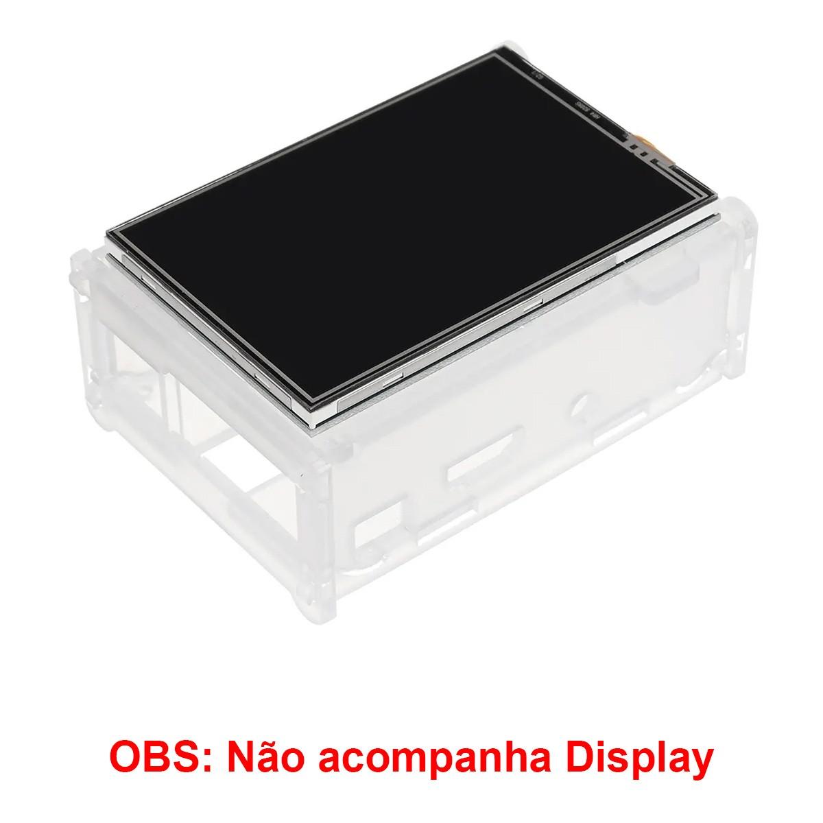 Case de Acrílico (apenas case) para Raspberry Pi 3, 2 B, B+ suporta Display 3.5 Polegadas