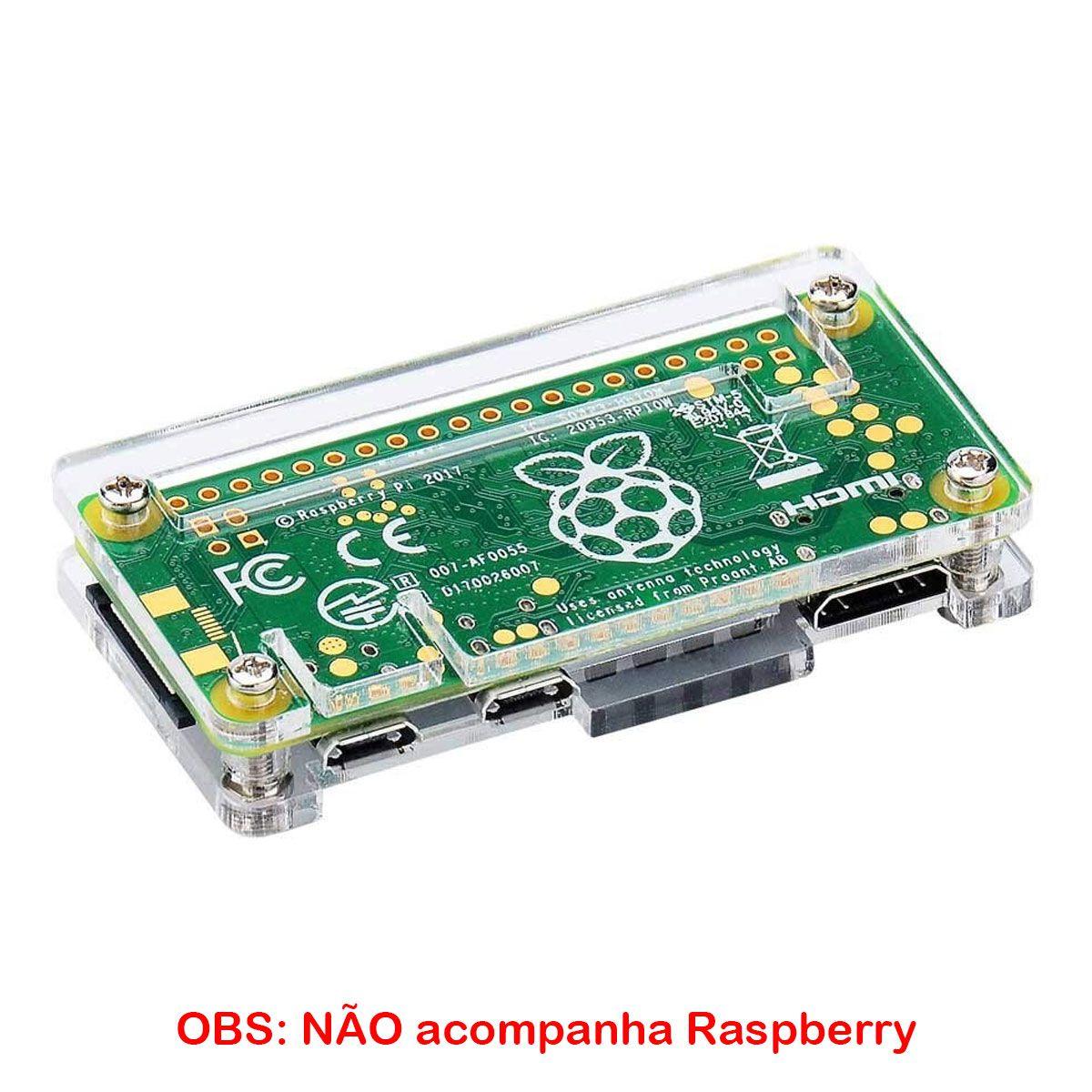 Case de Acrílico transparente + Dissipador para Raspberry Pi Zero
