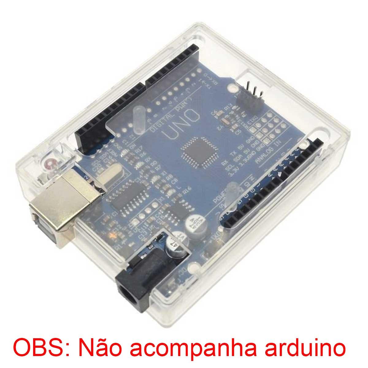 Case para Arduino Uno em Plástico ABS Transparente