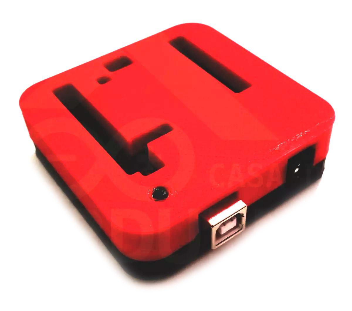 Case para Arduino Uno Impressa em 3D Topo Vermelho e Base Preta