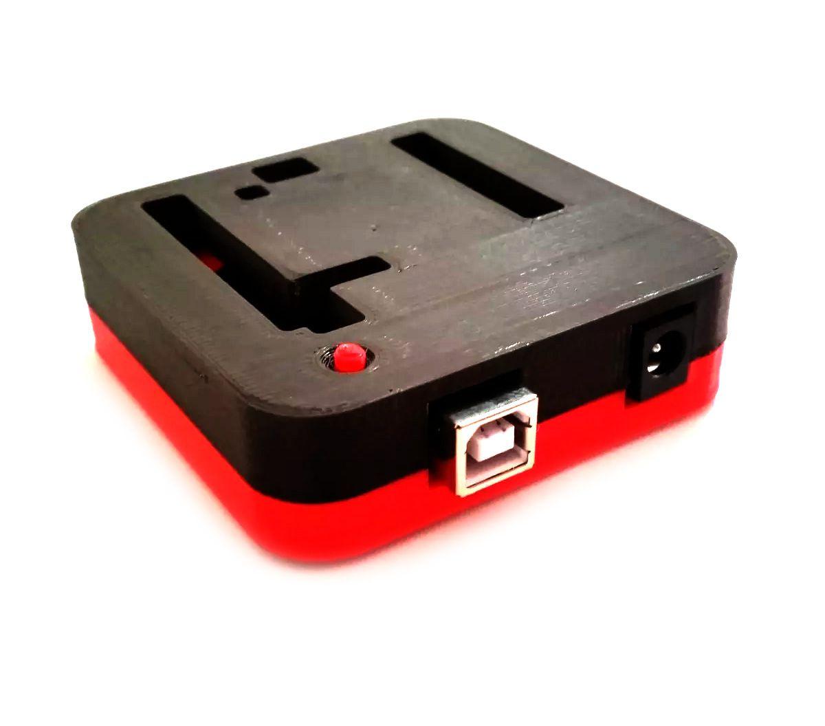 Case Uno R3 DIP/SMD em 3D Base Vermelha e Topo Preto compatível com Arduino