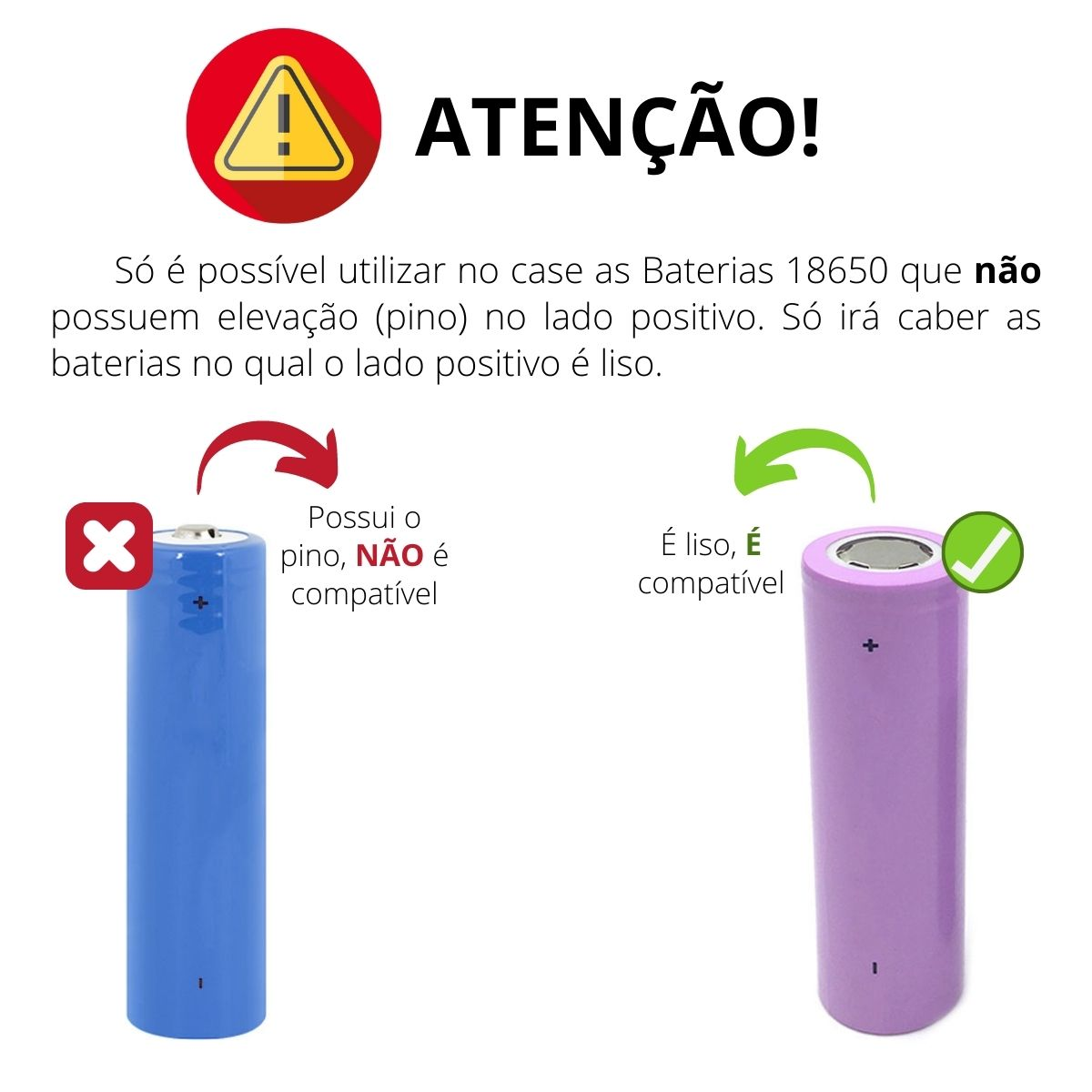 Case Power Bank Cilíndrico Preto SEM Bateria