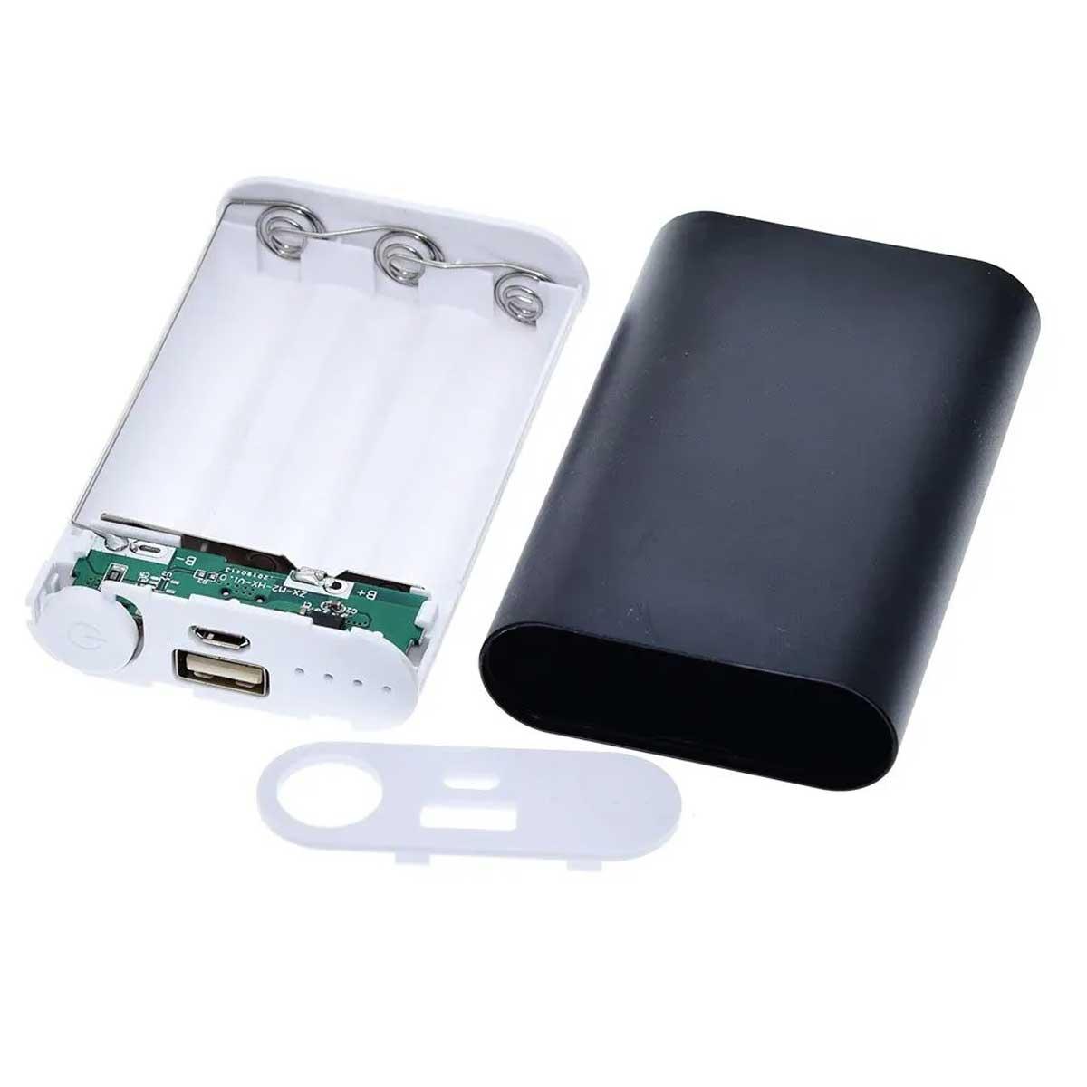 Case Power Bank USB para 3 Baterias 18650 - Não Acompanha Baterias