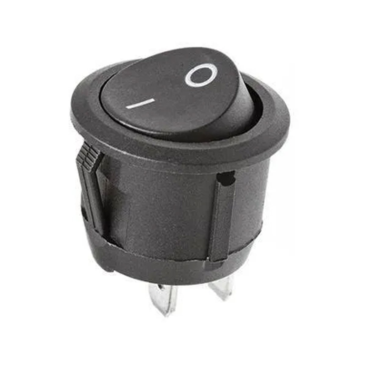 Chave / Botão Tic Tac Redonda Preta On / OFF - 2 Posições 2 Terminais