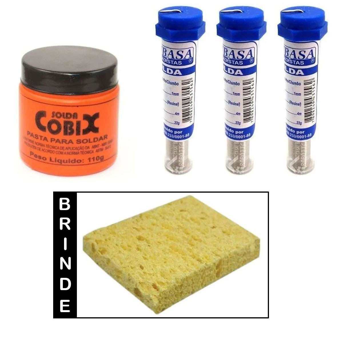 Combo: Pasta de Solda Cobix + 3 Tubo de Solda de Estanho + Brinde (Esponja)
