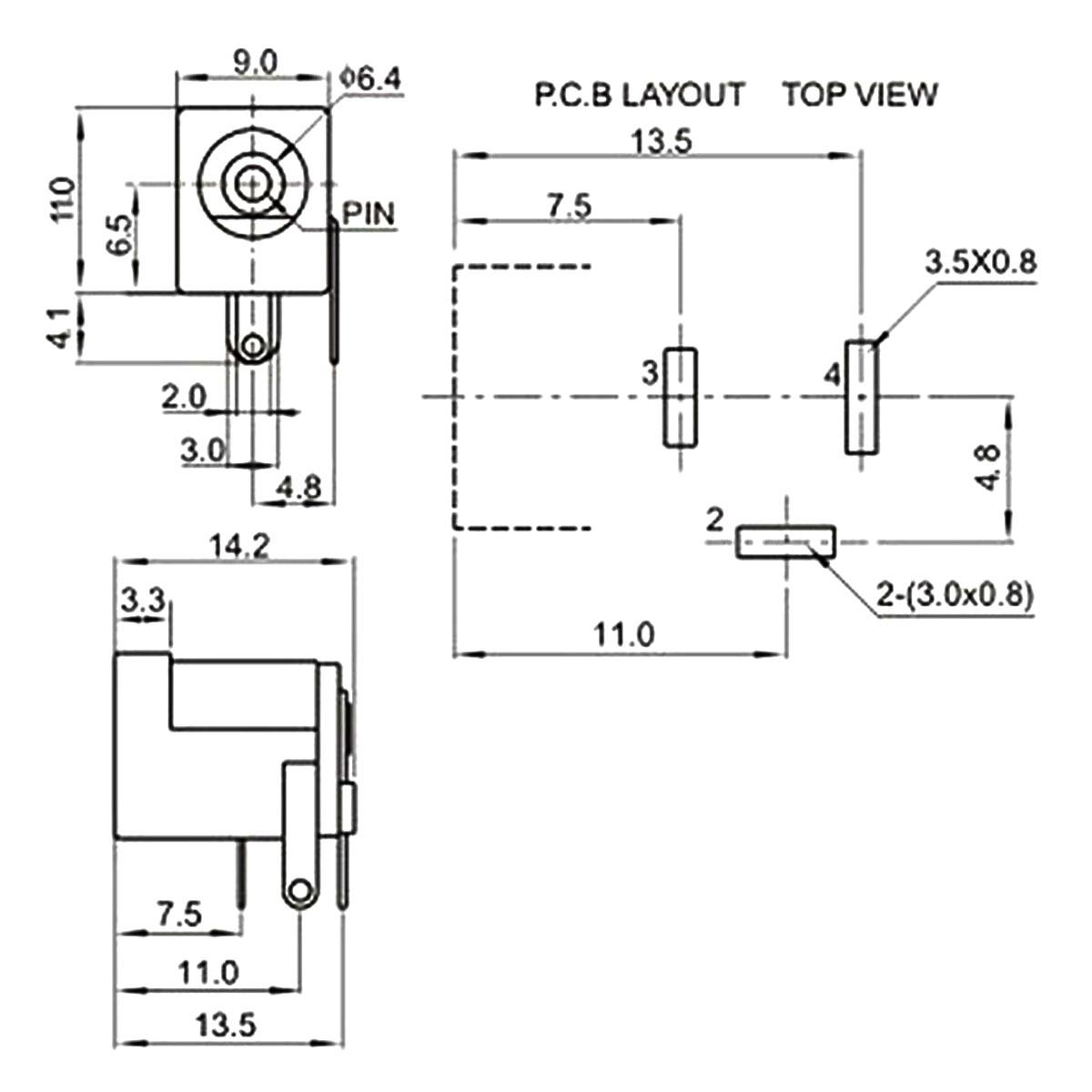 Conector P4 Fêmea para Placa de Circuito PCB + Plug P4 Macho 2.1mm