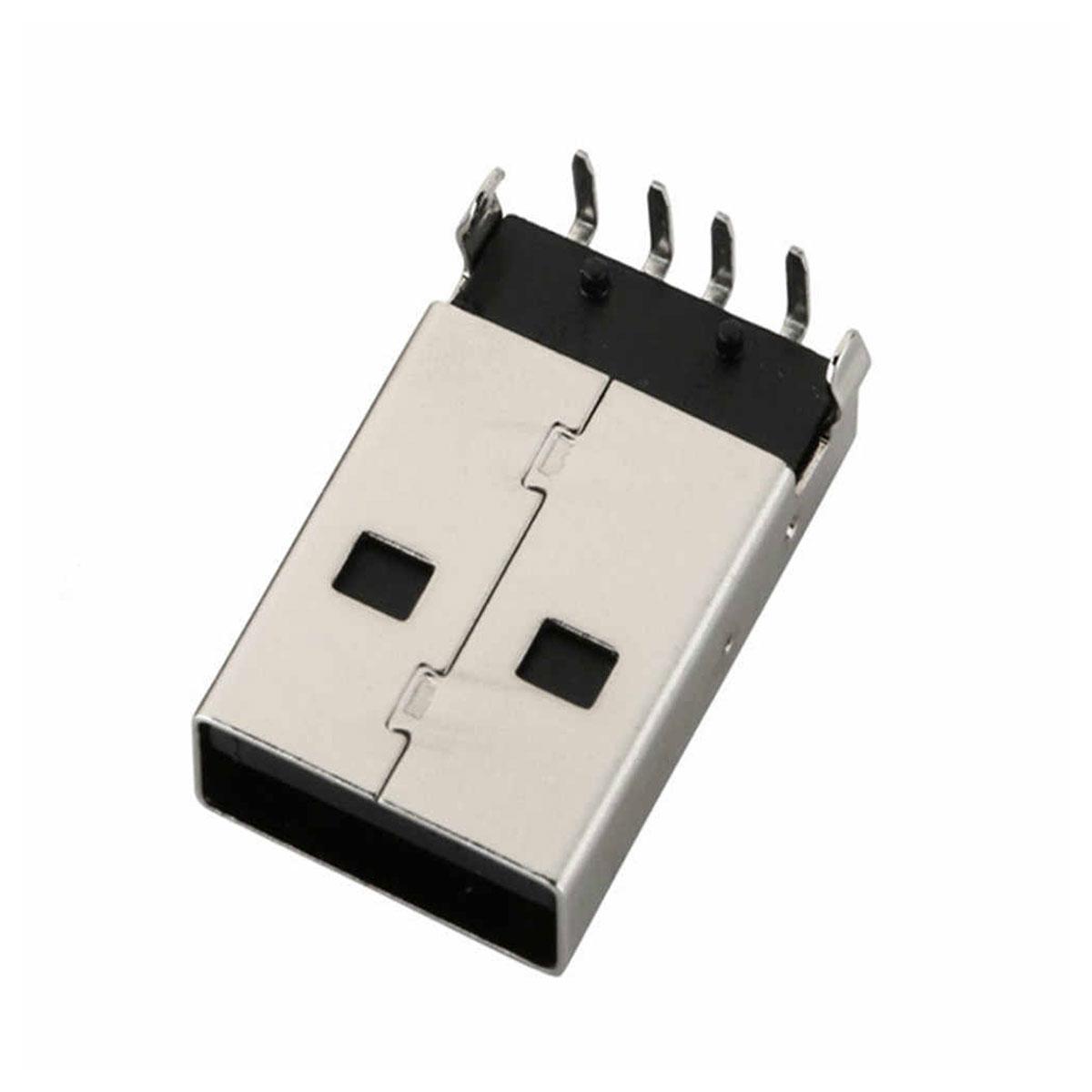 Conector USB Macho 90º para placas de circuito impresso (PCB/PCI)
