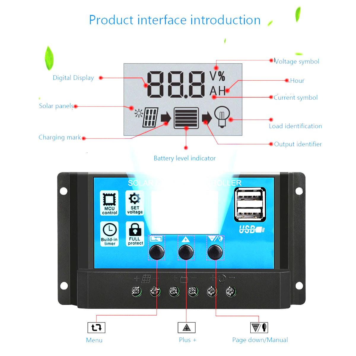 Controlador de Carga para Painel Solar 30A 12v 24v com 2 saídas USB
