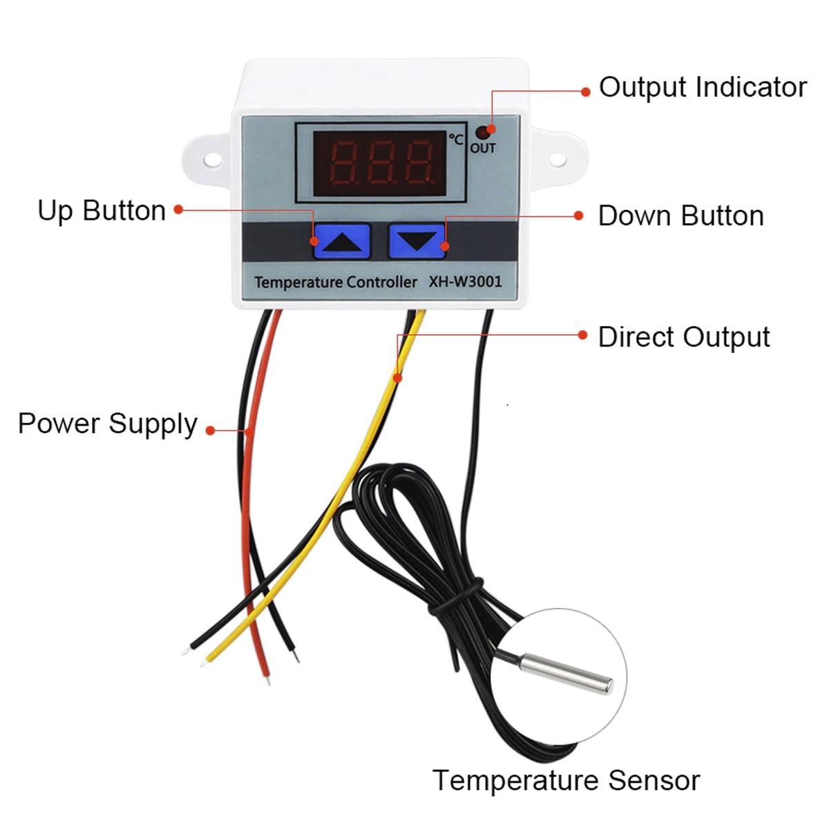 Controlador de Temperatura Digital Termostato 110 / 220V AC XH-W3001