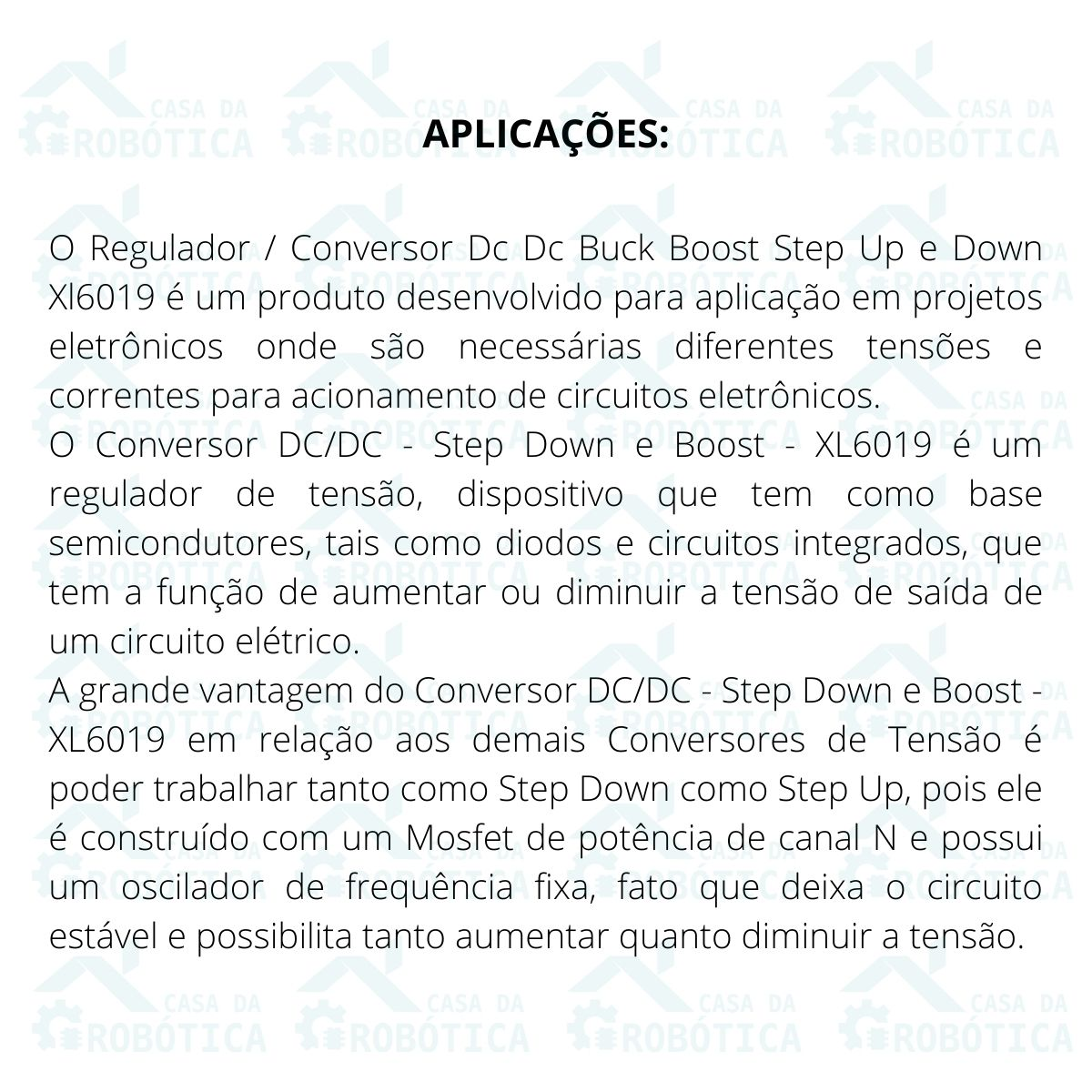 Conversor Regulador DC DC Buck Boost Step Up e Down Xl6019