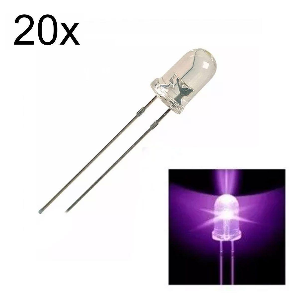 20x Led Roxo UV Ultra Violeta de 5mm Alto Brilho