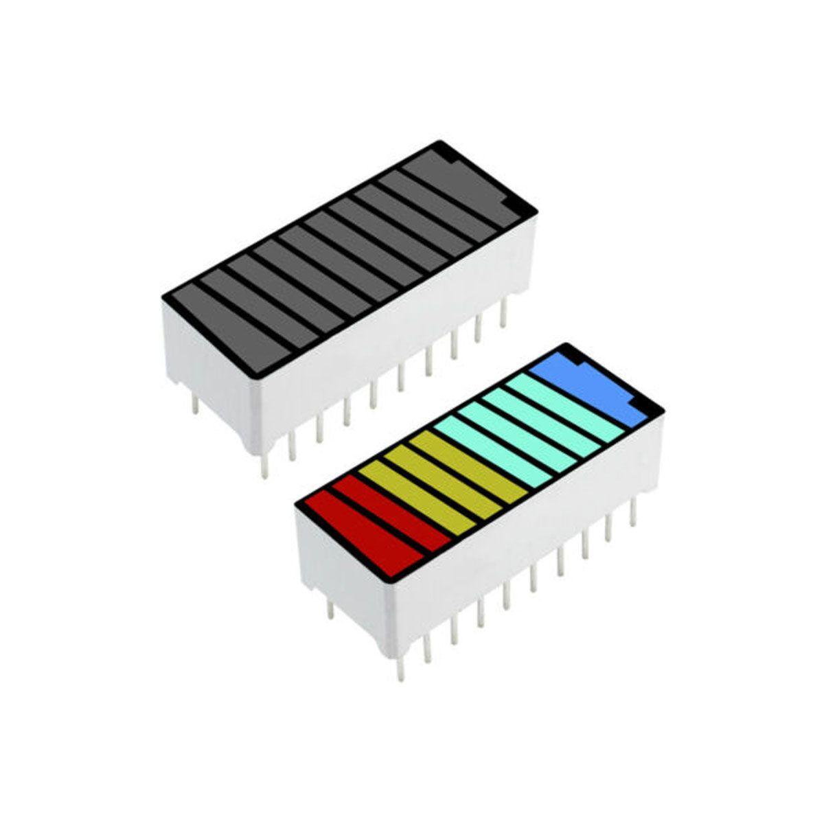 Display Bar Graph / Barra de Progresso com 4 cores 10 segmentos - Desenho Bateria
