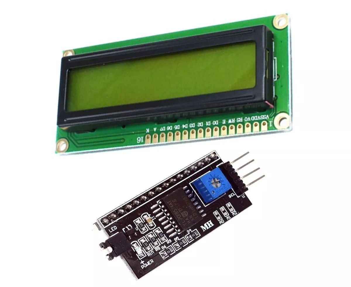 Display LCD Amarelo 16x2 + Módulo I2c Serial