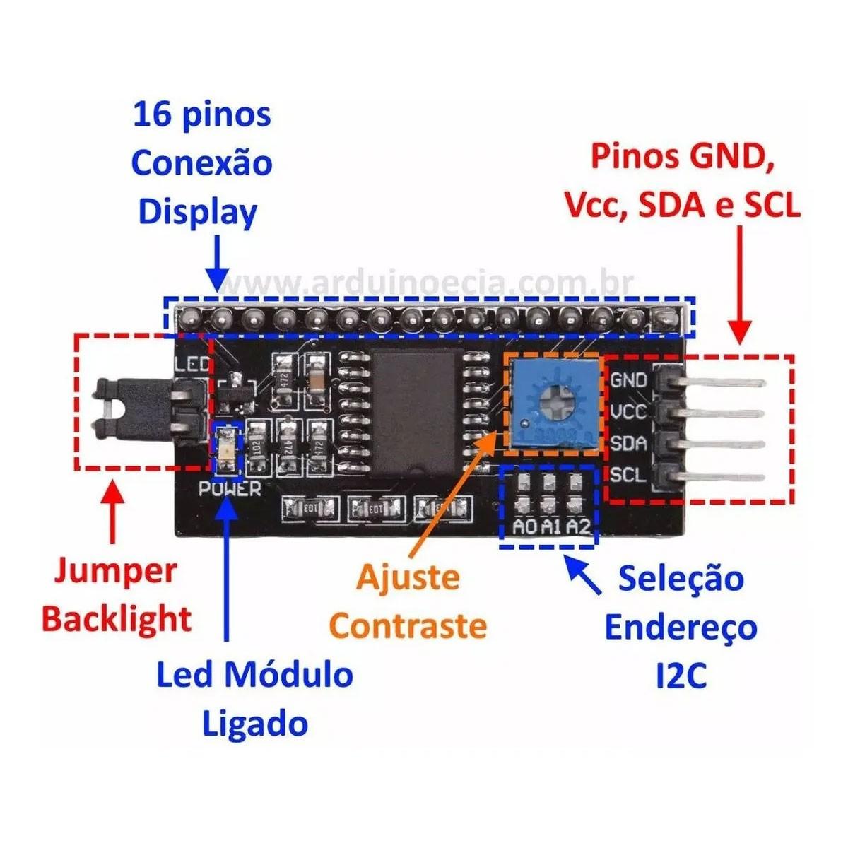 Display LCD Azul 16x2 com Módulo I2C Soldado Serial 16x02 1602