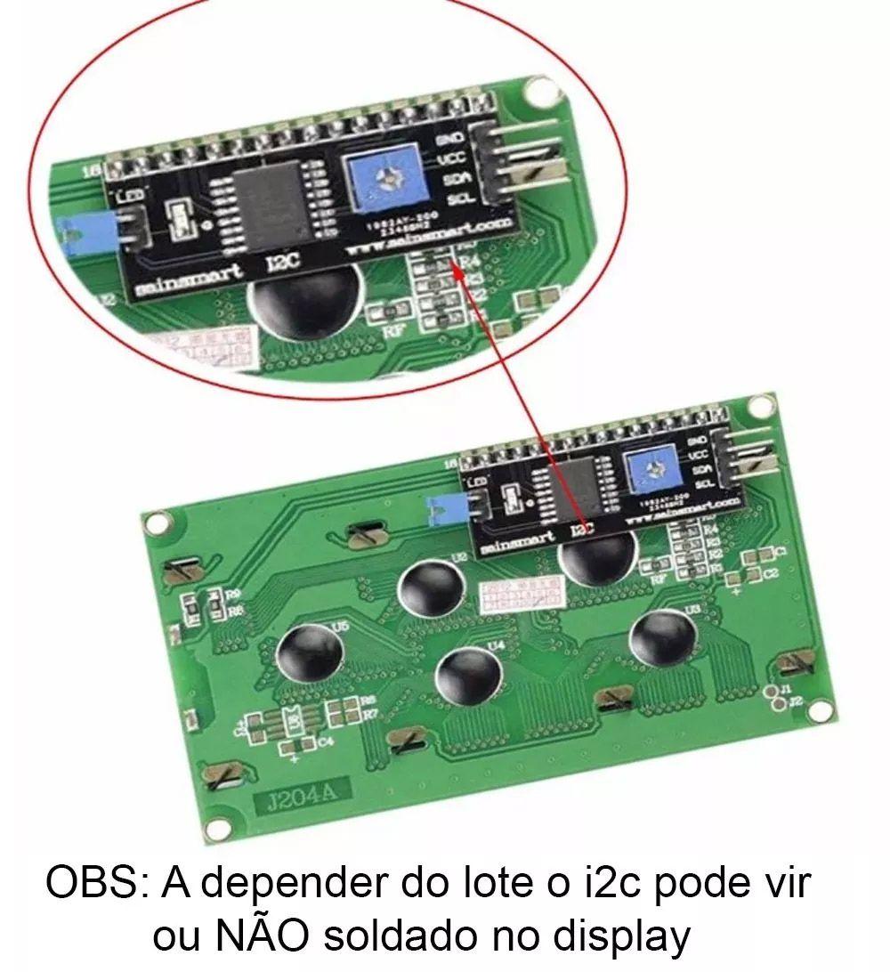 Display LCD Azul 20x4 + Módulo I2c Serial