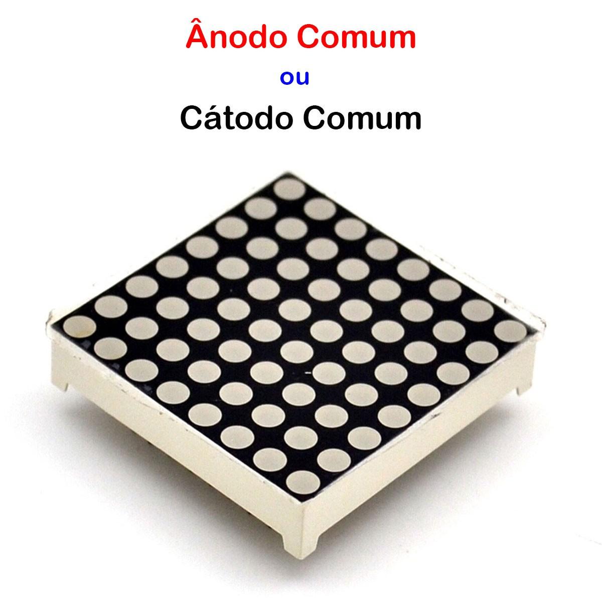 Display Matriz de Led 8x8 Vermelho Anodo ou Catodo Comum