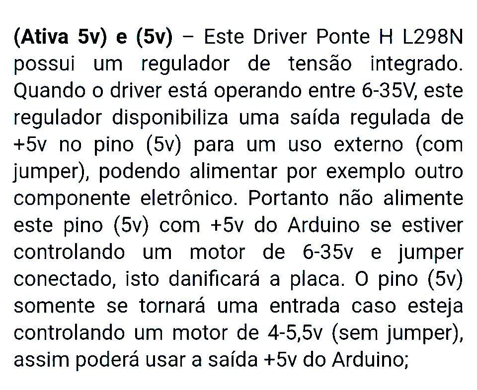 Driver Ponte H Dupla L298N Motor de Passo ou DC