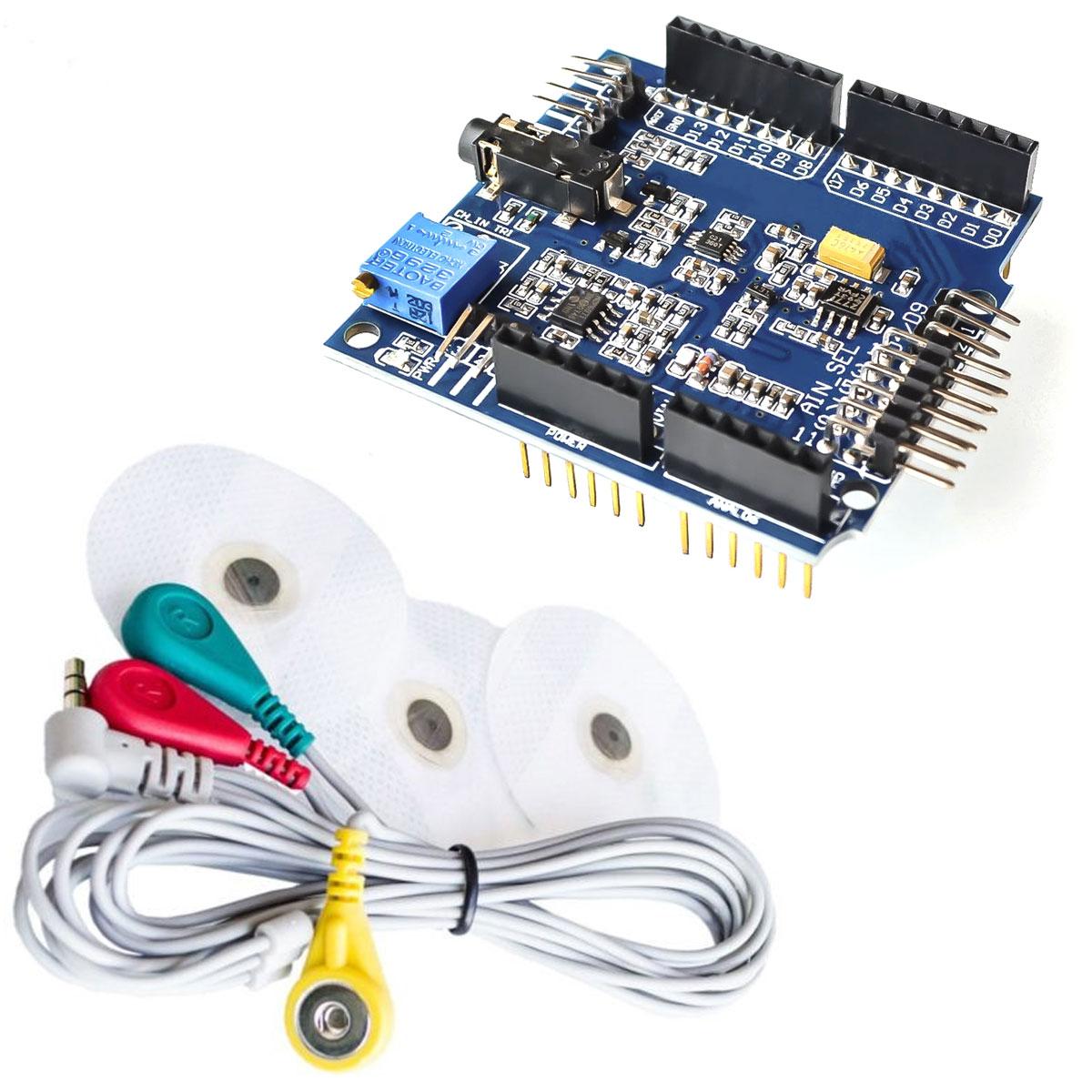 ECG EMG Sinais de Eletrocardiograma e Eletromiografia com Shield para Arduino