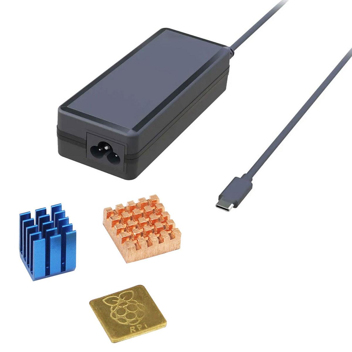 Fonte Raspberry Pi 4 5V 3A Tipo Mesa com botão liga/desliga Usb Tipo C + Dissipadores