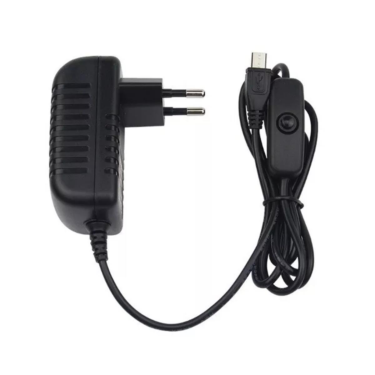 Fonte Raspberry Pi 3 DC Chaveada 5v 3A Bivolt Plug Micro USB com Botão Liga / Desliga