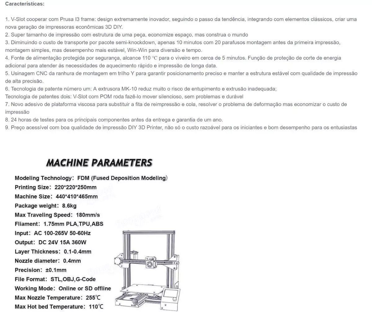 Impressora 3D Creality Ender 3 | Bivolt | 220 x 220 x 250mm - Kit Pré - Montado