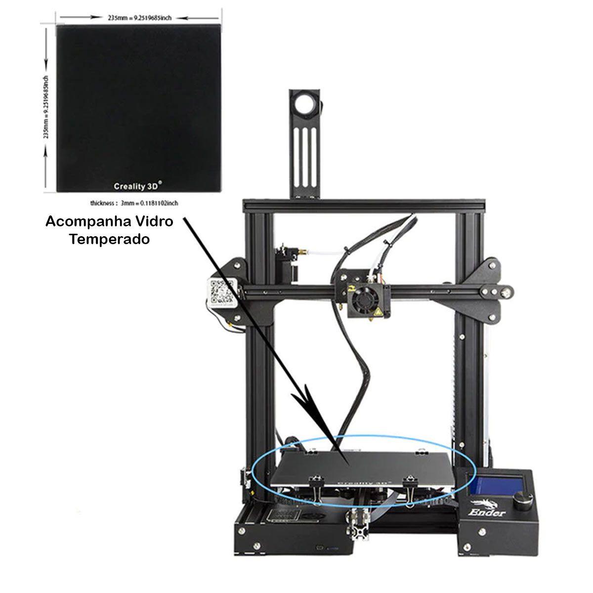 Impressora 3D Creality Ender 3 | Bivolt | 220 x 220 x 250mm