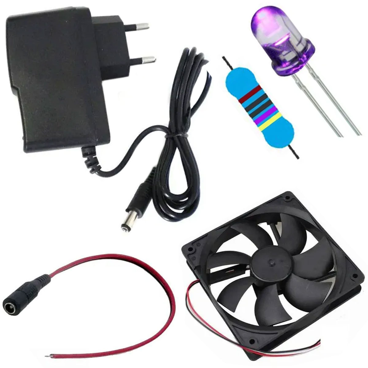 Kit: 10 Led Ultravioleta UV + 10 Resistor 470ohm + Cooler + Fonte 12v + Brinde