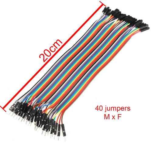 Kit 120 Cabo Jumper de 20cm: 40 Macho x Fêmea, 40 Macho x Macho e 40 Fêmea x Fêmea