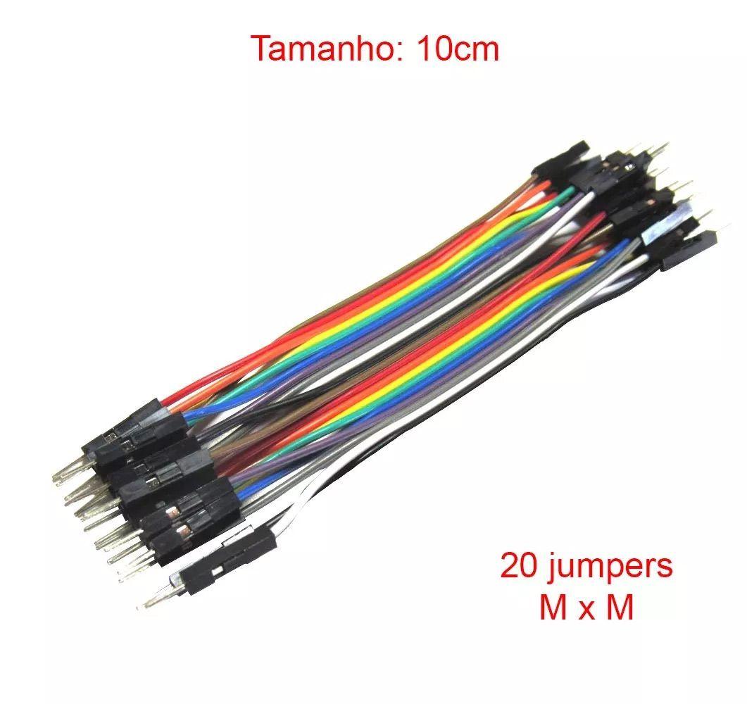 Kit 60 Cabo Jumper de 10cm: 20 Macho x Fêmea, 20 Macho x Macho e 20 Fêmea x Fêmea