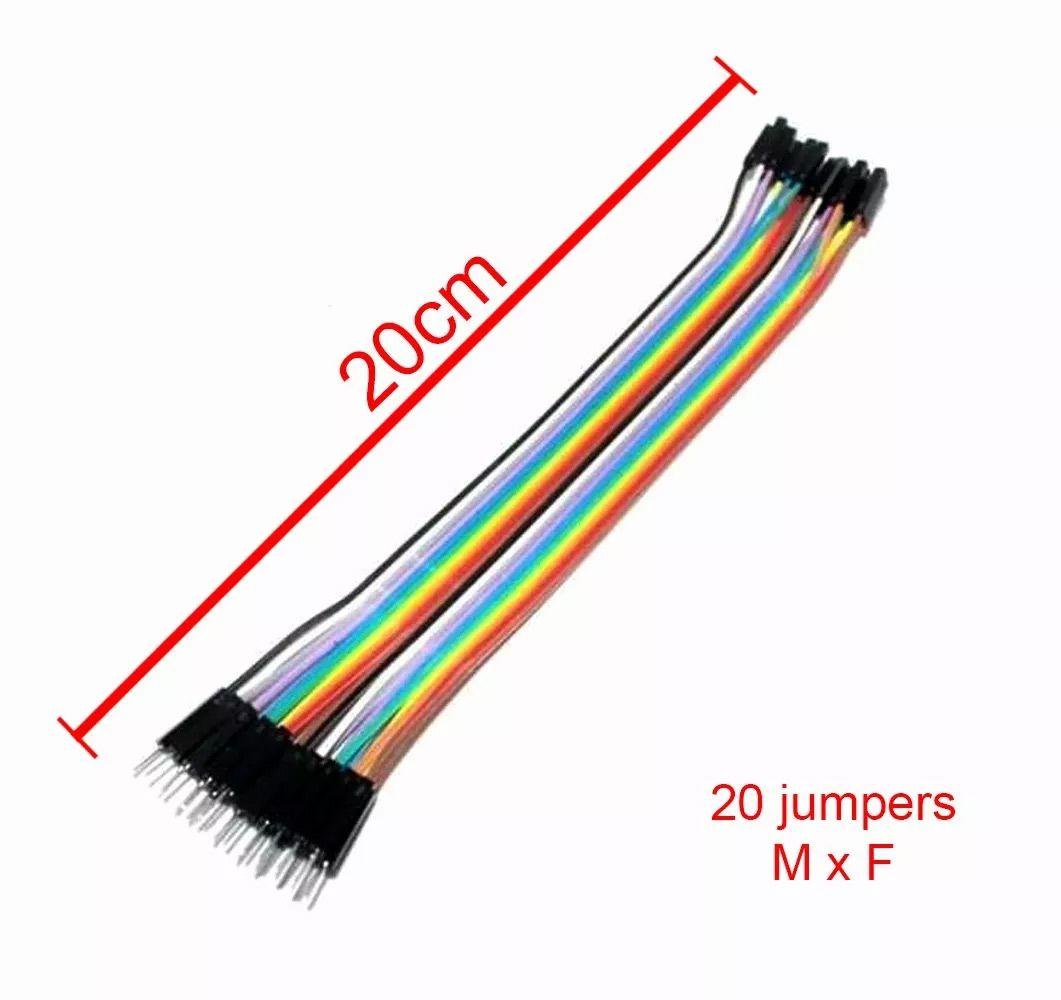 Kit 60 Cabo Jumper de 20cm: 20 Macho x Fêmea, 20 Macho x Macho e 20 Fêmea x Fêmea