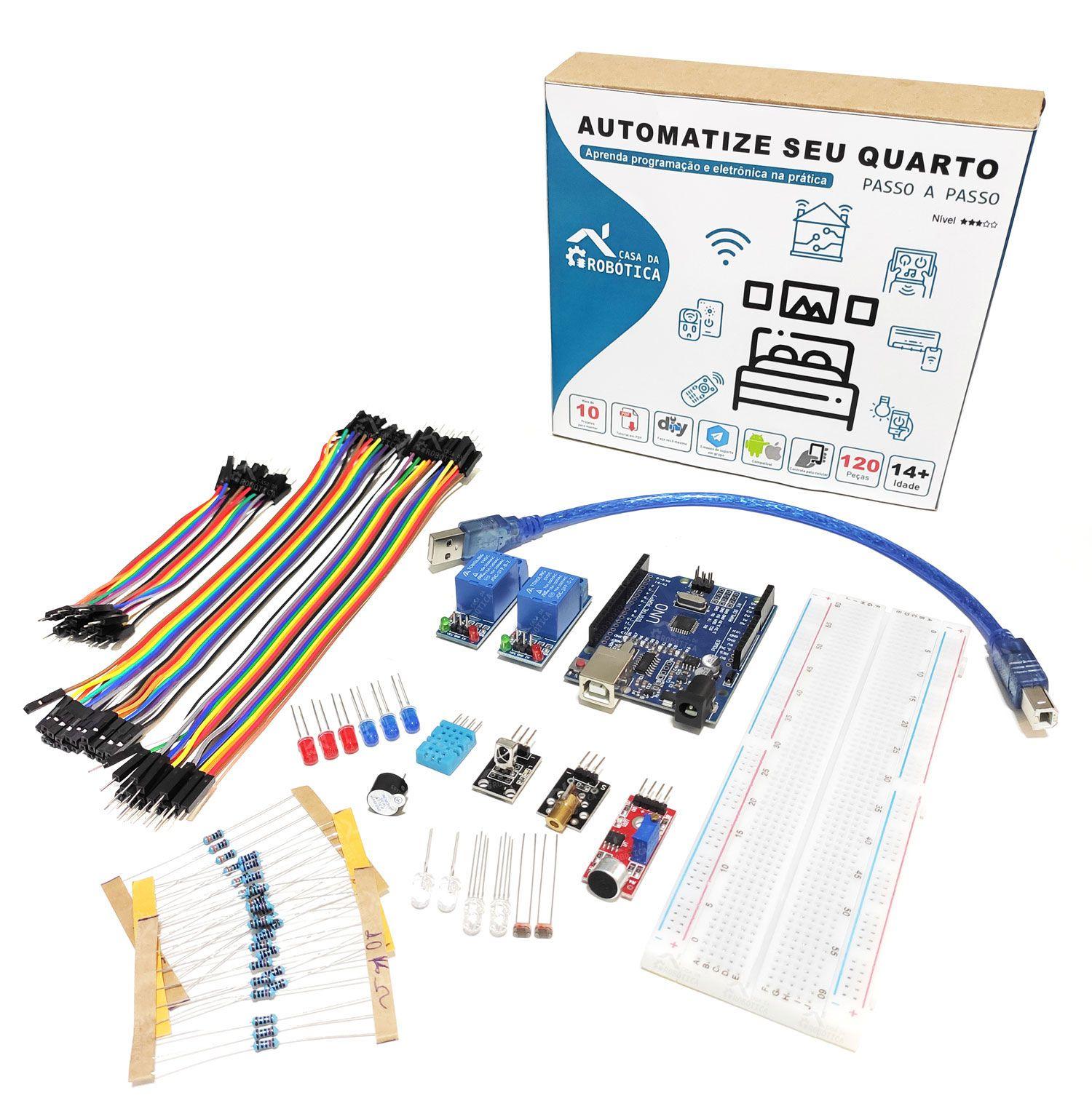 Kit Automação Residencial Robótica Com Tutorial Para Arduino - Automatize seu Quarto!