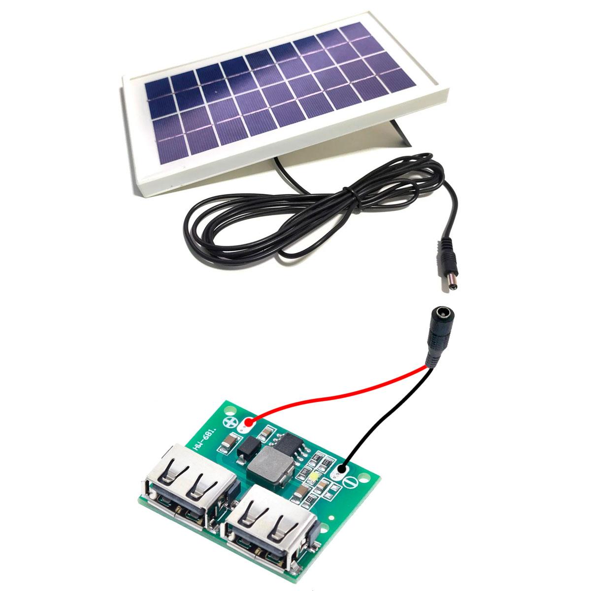 Kit Carregador Solar 3.5W com saída 5V para Carregar Celular / Smartphone