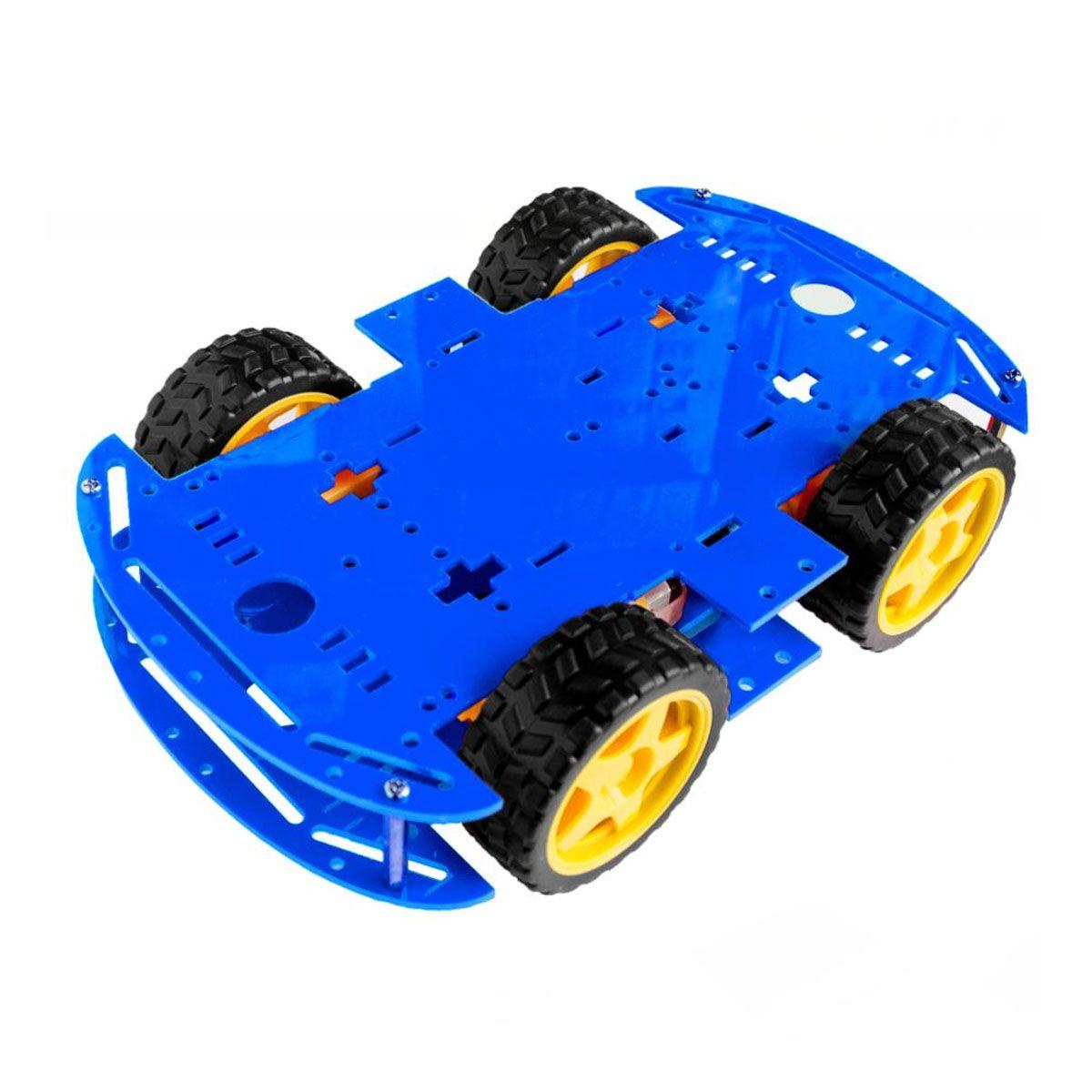 Kit Chassi 4WD 4 Rodas com Motores e Base Azul de Acrílico 3mm